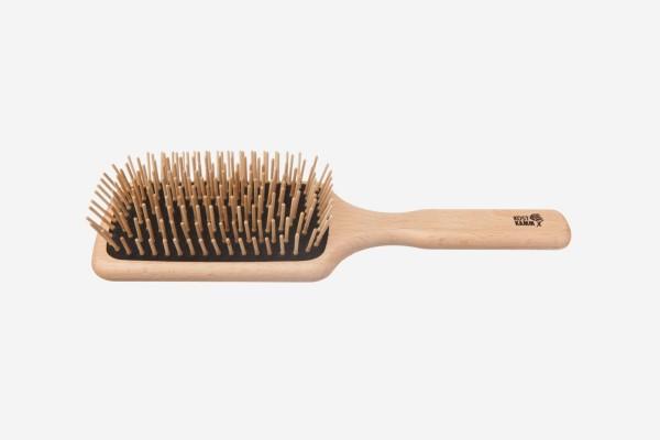 Vegane Holzhaarbürste, Paddle-Brush, rechteckig, 11-reihig