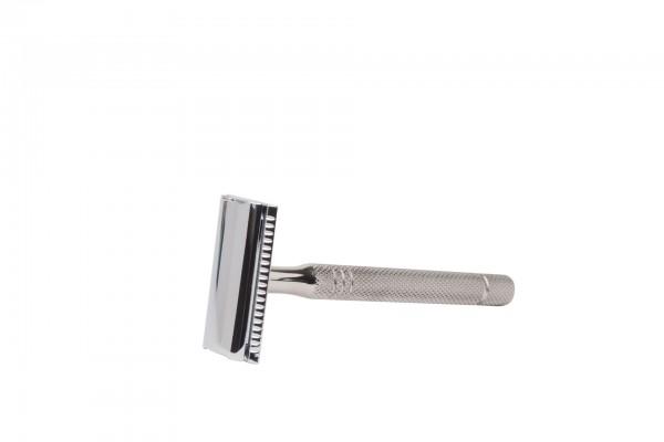 "Unisex Rasierhobel ""Gentle Shaver"", 100 mm massiver Edelstahl-Griff mit Ziselierung"