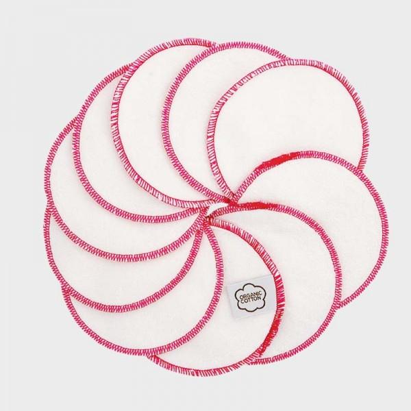 Abschminkpads, 10 Stk., weiß-rosa
