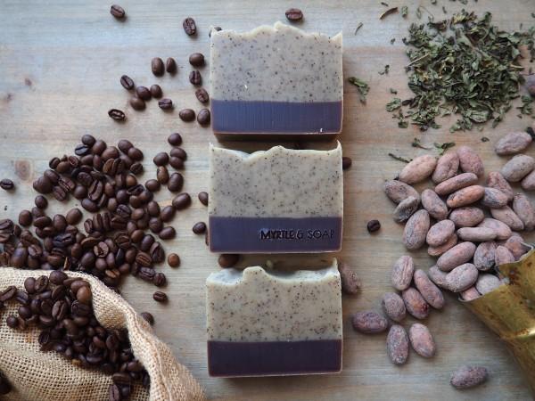 Morning Coffee, Peelingseife mit Kaffee Arabica, Pfefferminze & Bio-Kakaopulver