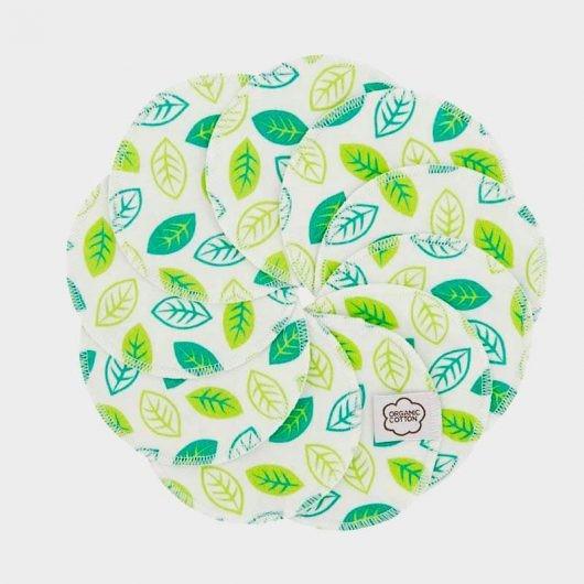 Abschminkpads, 10 Stk., grüne Blätter